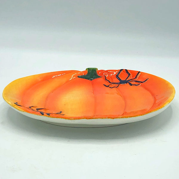 Pumpkin with Spiders Shaped Halloween Treat Plate