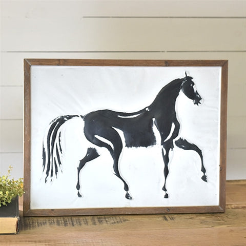 "Pressed Tin Horse Sign 24"" x 18"""