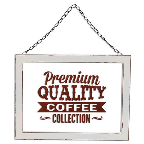 Premium Quality Coffee Collection Glass Sign w/Hanger