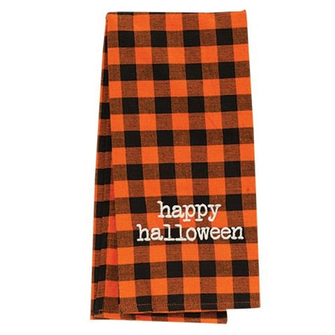 Happy Halloween Orange & Black Buffalo Check Dish Towel