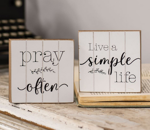Pray Often & Live a Simple Life Mini Wood Blocks