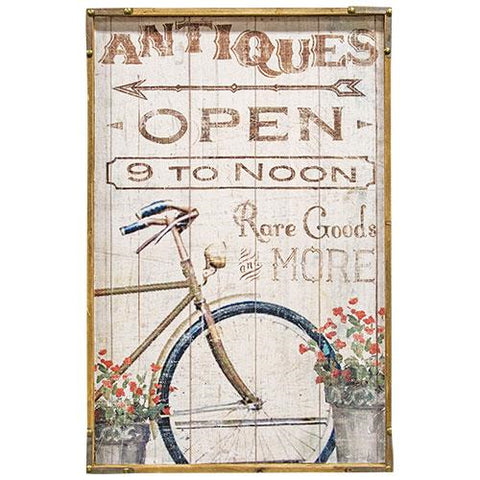"Antiques Open 9 to Noon - 24"" Wooden Sign"