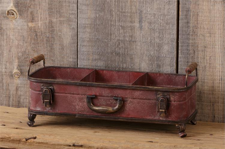Distressed Red Divided Suitcase Bin