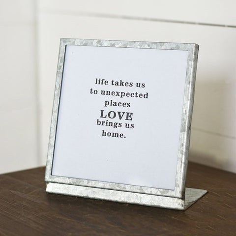 "Love Brings Us Home 6"" Square Tin Tabletop Sign"