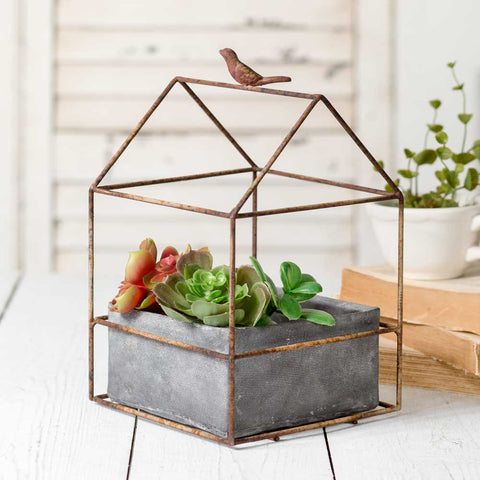Tweet Metal House Frame Planter