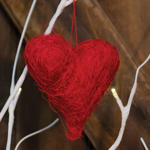 "Set of 3 Red Sisal Heart 3.5"" Ornaments"