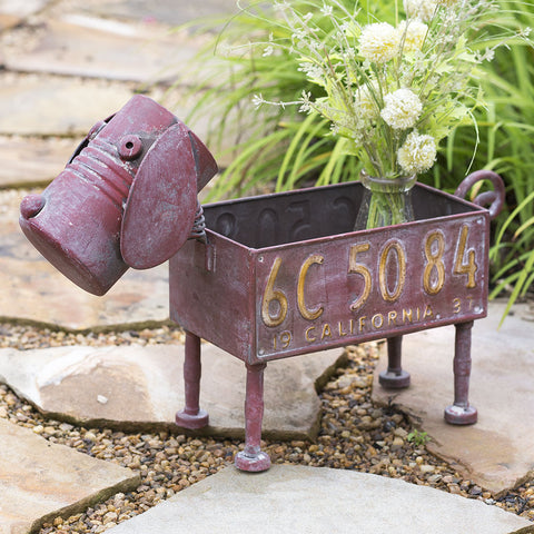 Scrappy Dog Reproduction License Plate Planter