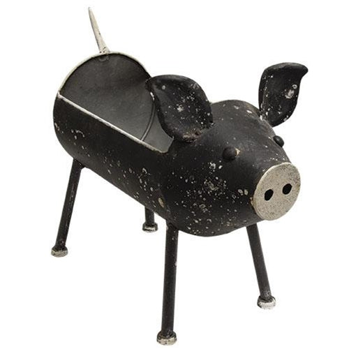 Distressed Black Pig Planter Bin