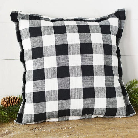 "Black and White Buffalo Plaid 17"" Pillow"