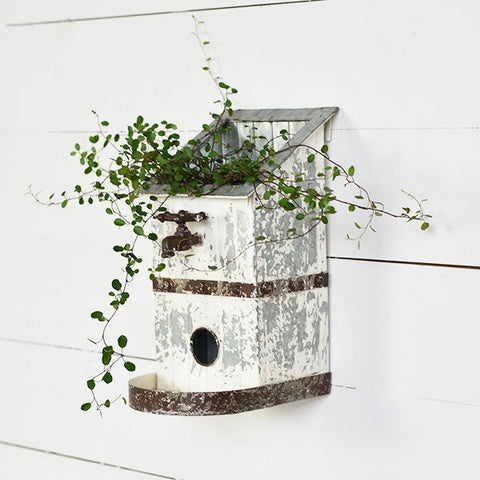 Chippy Garden Birdhouse Planter with Faucet Accent
