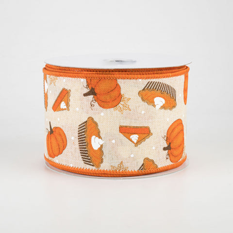 "Pumpkin Pie & Pumpkins Ribbon 2.5"" x 10 yards"