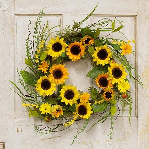"Sunflowers & Berries 20"" Faux Wreath"