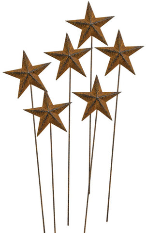 "Set of 6 Rusty Star 14"" L Picks rustic"