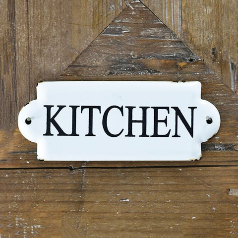"Kitchen White and Black 7"" Metal Sign"