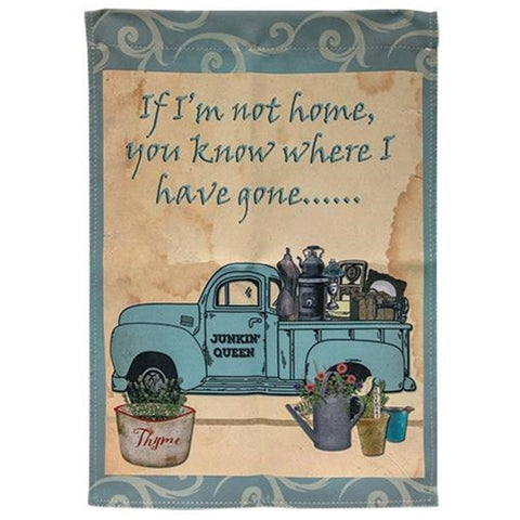 Junkin Queen Blue Truck Garden Flag