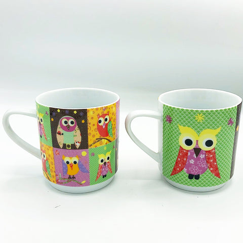 Set of 2 Colorful Owl Mugs Creative Tops Ltd