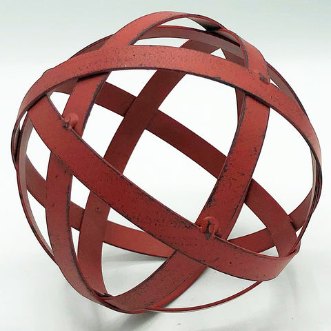 "Distressed Red 4"" Metal Sphere"