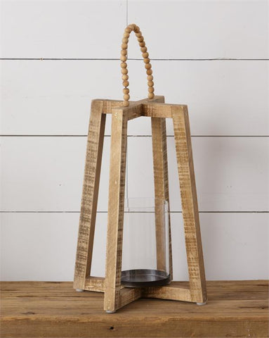 Hanover Wooden Lantern with Beaded Handle