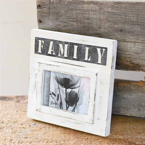 "Whitewash Wooden Family Stencil Frame holds 4"" x 6"" photo"