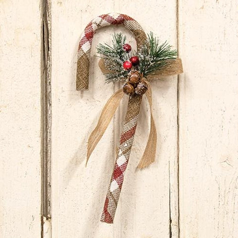 "Cranberry Plaid 12"" Decorative Candy Cane"