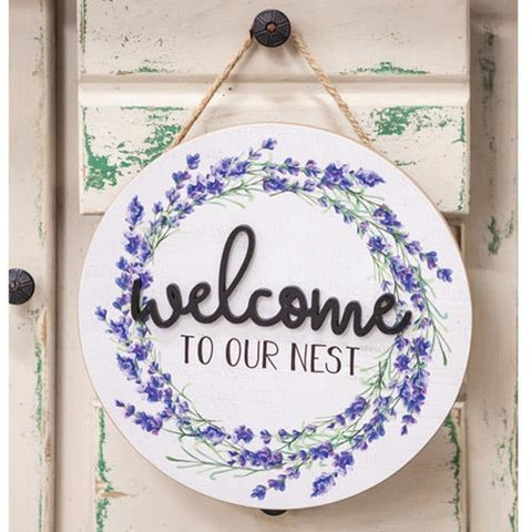 Welcome To Our Nest Lavender Wooden Wall Hanging