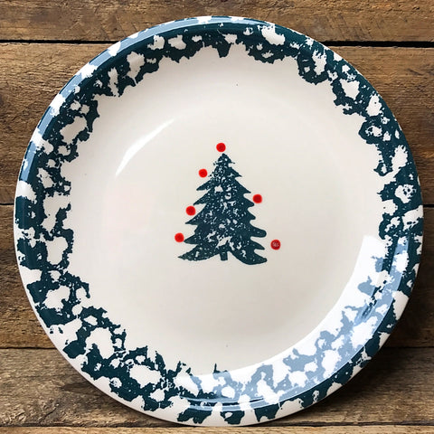 Tienshan Winter Wonderland Spongeware Christmas Tree Plate 7""