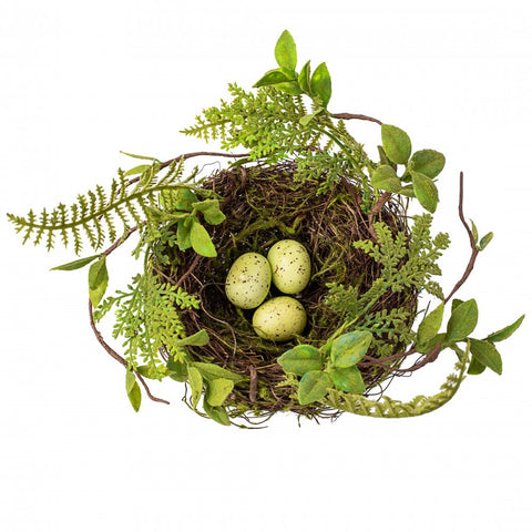 Moss Bird Nest With Eggs