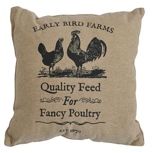 "Early Bird Farms Chicken & Rooster 10"" Pillow"