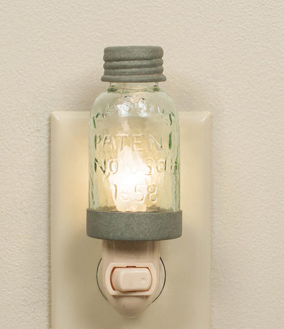 Mason Jar Night Light with Barn Roof Trim