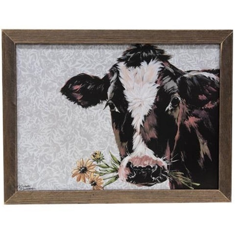 "Susie the Cow Print in Wooden Stained Frame 19"" x 25"""