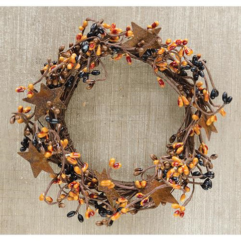 "Fall Harvest Orange and Black Pip Berry 8"" Ring With Stars"