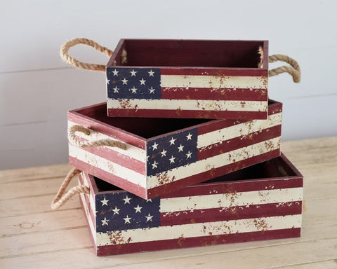 Set of 3 Distressed Americana Nested Boxes