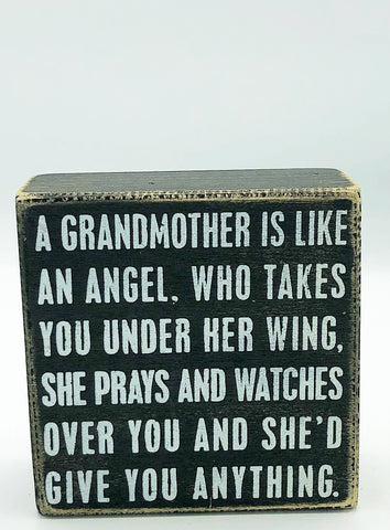 A Grandmother is Like an Angel Small Box Sign Primitives by Kathy