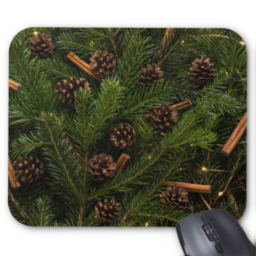 Winter Mousepad - Pinecones and Cinnamon - Mouse Pad