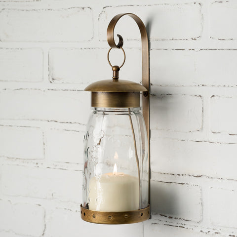 Quart Mason Lantern Jar Antique Brass Hanging Wall Sconce
