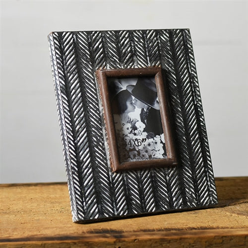 "Arrowhead Pressed Tin 12"" Picture Frame holds 4"" x 6"" photo"