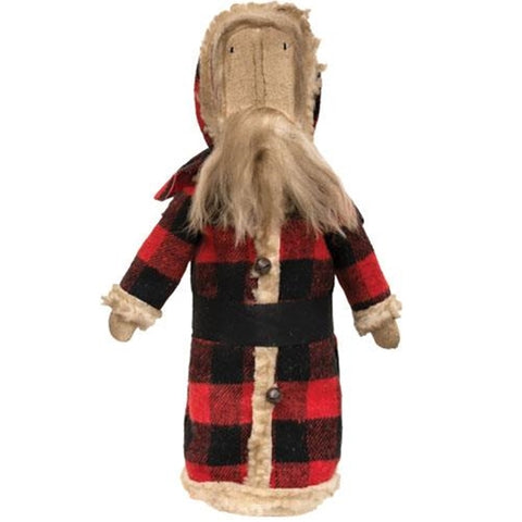 Buffalo Check Santa Fabric Rustic Doll