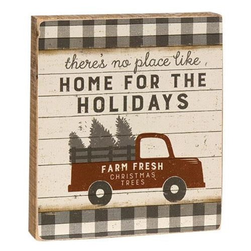 Home For the Holidays Red Truck Buffalo Plaid Block Sign
