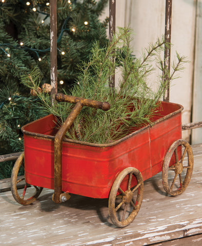 "Rustic Red Tin 15"" L Wagon"