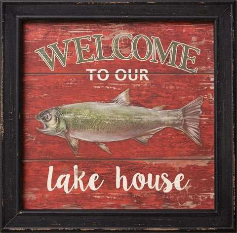 Welcome to Our Lake House Framed Sign - Fishing Fish