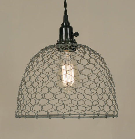 Chicken Wire Dome Pendant Light - Barn Roof Metal