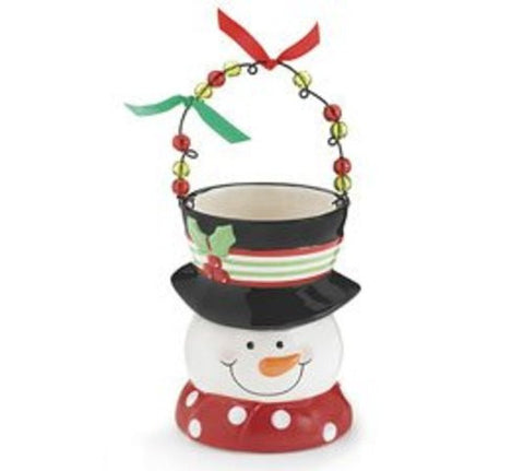 Jolly Snowman Planter Christmas Believe Ceramic