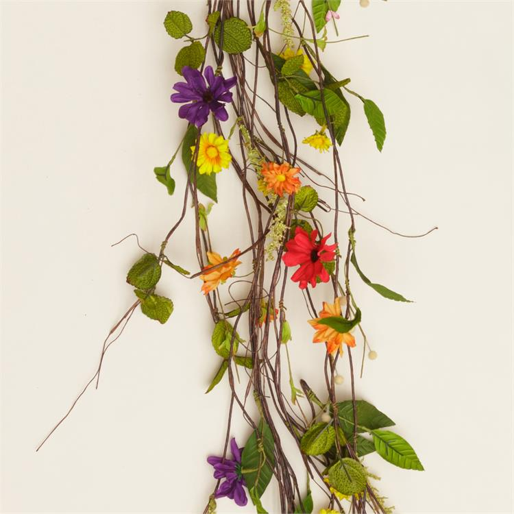 Natural Bright Colors Daisy and Blooms Twig 4 ft Garland