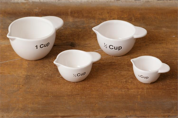 Set of 4 Pottery Measuring Cups