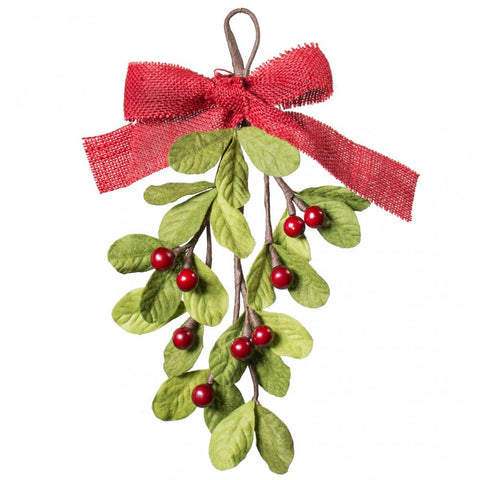 Mistletoe with Red Berries Artificial Teardrop Shape