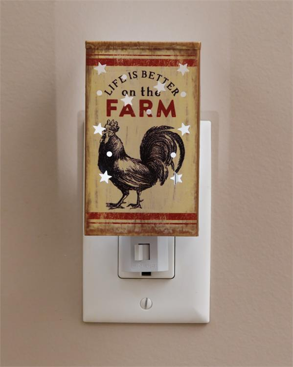 Life is Better on the Farm Rooster Night Light Farmhouse