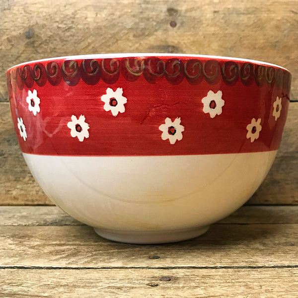 Gibson Bowl - Red Rim with White Flowers
