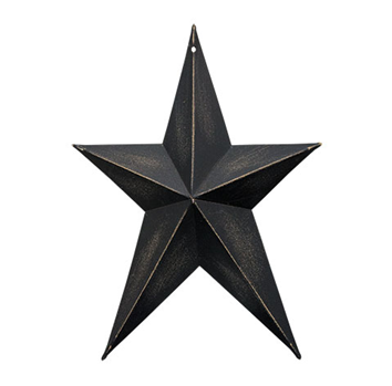 "Distressed Black Whimsical 8"" Metal Star"