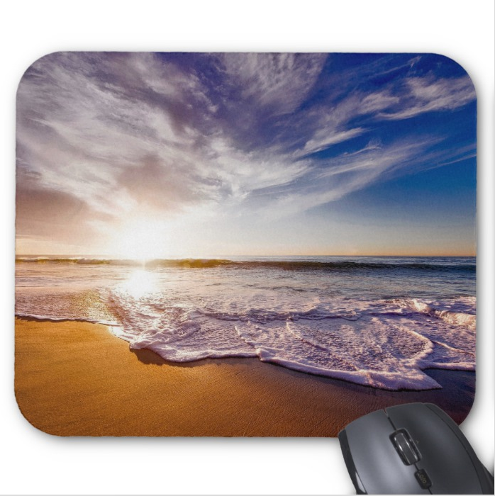Beach Mousepad - Sunny Morning at the Beach - Mouse Pad