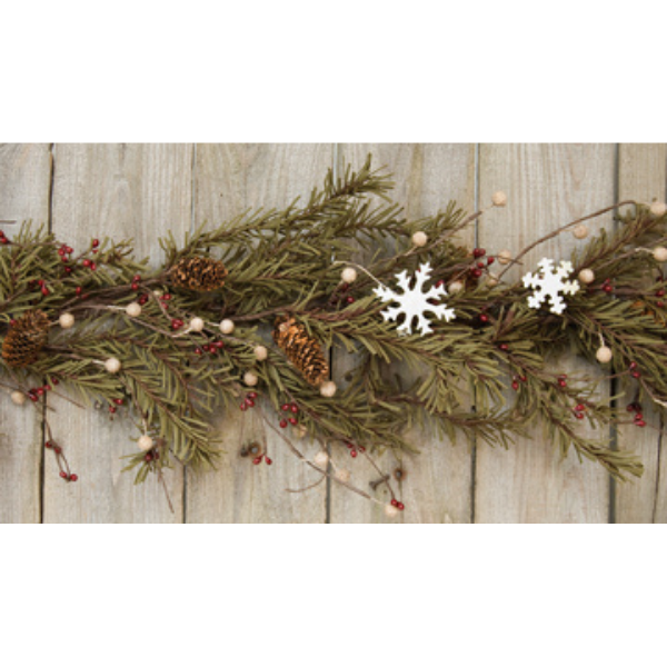 Pine & Snowflakes 4 ft Faux Garland